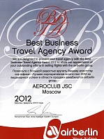 Air Berlin Best Business Travel Agency Award 2012
